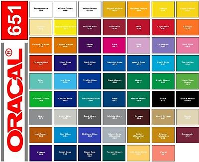 "12"" x 10' - 5 rolls - ORACAL 651 Vinyl - Choose any Colors"