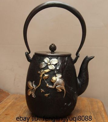 Archaic Japan Iron Silver Gilt Monkey Hive Bee Flower Flagon Kettle Wine Tea Pot