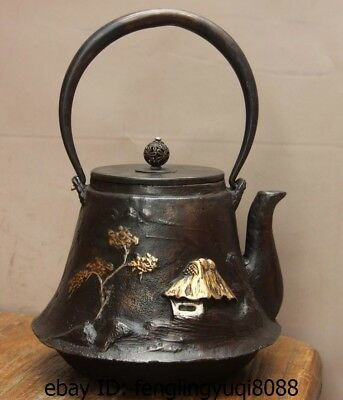 Archaic Japanese Iron Silver Gilt Pine Tree Cottage Flagon Kettle Wine Tea Pot