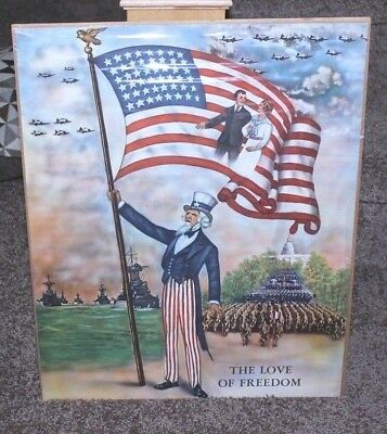 Rare 1942 WWII Uncle Sam Waving US Flag Max A Stern Love of Freedom Poster