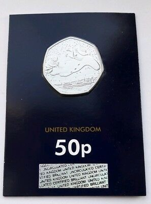 2018 UK The Snowman Fifty Pence 50p Coin BU Change Checker Card Christmas - Mint