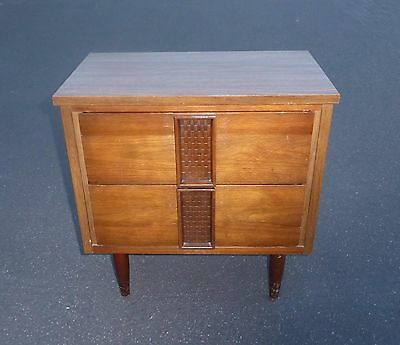 Vintage Mid Century Modern Two Drawer Solid Wood Peg Leg Nightstand