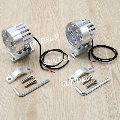 Silver IPX-6 Motorcycle LED Fog Spot Motorbike Front Headlight Light Lamp 12-85V