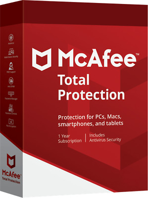 McAfee Total Protection Security 2019 Unlimited Unbegrenzt PC Geräte 1 Jahr