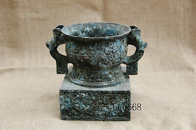 Asian chinese antique old bronze Rust double dragon ear wine cup