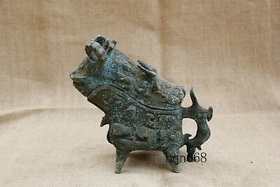 "8"" Asian chinese antique old bronze sheep ox dragon wine cup glass"