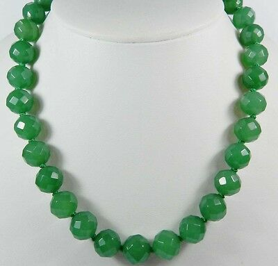 20 Inches Long. Stunning! 12mm Green Emerald Faceted Round Beads Necklace