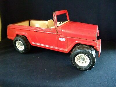 Vintage Tonka Jeepster Red Plastic Wheels 1960's home made Hitch