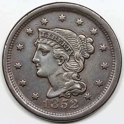 1852 Braided Hair Large Cent, XF detail