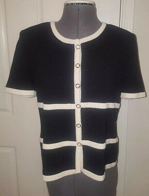 St John by Marie Gray Santana Knit Short Sleeve Blazer jacket cardigan sz small