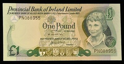 1977 RARE Uncirculated Provincial Bank of Ireland 1 Pound Note. ITEM Y5