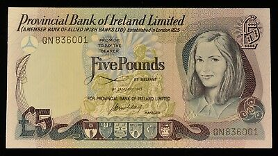 1977 RARE Uncirculated Provincial Bank Of Ireland 5 Pound Note. ITEM Y6