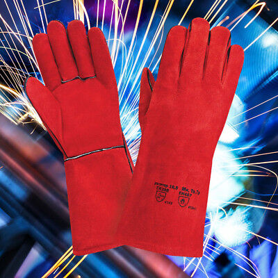 Red Superior Mig Welding Gauntlets Protective Gloves Heat Resistant Leather