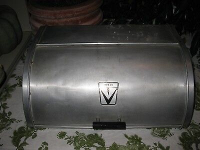 Vintage Maid Of Honor Aluminum Metal  Counter Top Bread Box Mid-Century