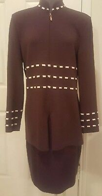 St John by Marie Gray Santana Knit ribbed Skirt Suit  brown zipper front size 8