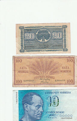 Finland lot 3 banknotes