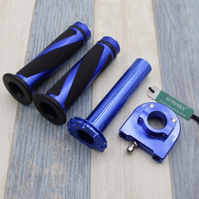 "Motorcycle Dirt Bike Scooter 7/8"" Blue CNC Hand Grips Throttle Twist Tube Lever"