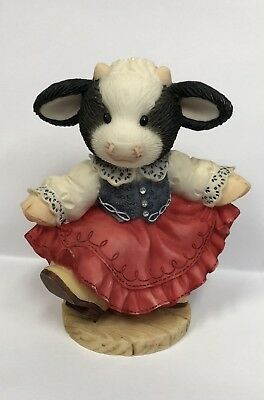 Mary's Moo Moos ~ I'd Love To Dance with Moo ~ Cow Figurine By Enesco (1998)
