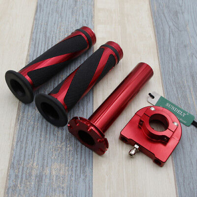 "Motorcycle Dirt Bike Scooter 7/8"" Red CNC Hand Grips Throttle Twist Tube Lever"