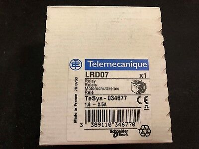 Schneider Telemecanique thermal overload relay LRD07 1.6 - 2.5A