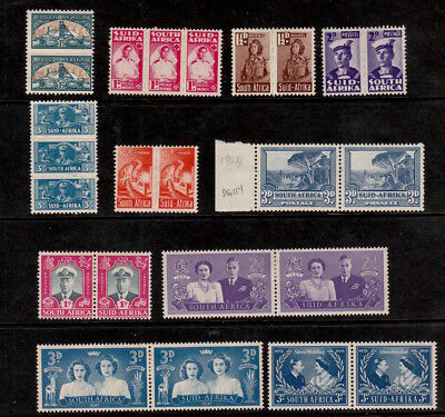 South Africa 1942-1948 Selected Mint Stamps Including War Effort Pairs/threes