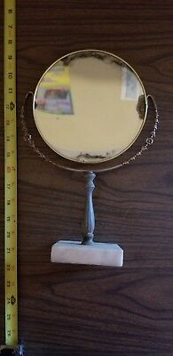 "Antique Vintage Makeup Oval Hand Bronze Metal Swivel Stand Vanity 7"" Mirror"