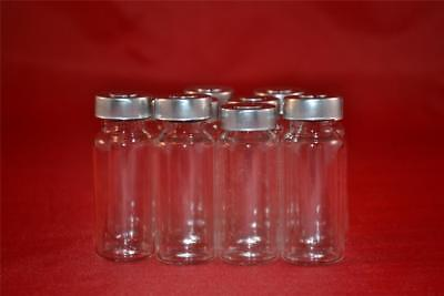 100 x 10ml Clear Glass Vials with Stopper & Aluminum Seals 100% New & Empty