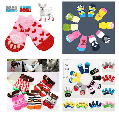 4Pcs Pet Dog Cat Cotton Anti-slip Socks Puppy Knit Weave Warm Skid Bottom Shoes