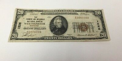 1929 $20 National Currency Banknote Westminster Maryland # 1526