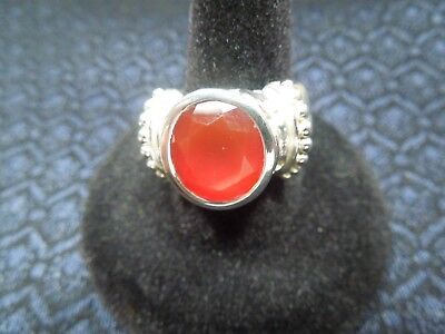 Large Sterling Silver Leaf & Bead Round Faceted Garnet Color Ring, Size 9, 16g