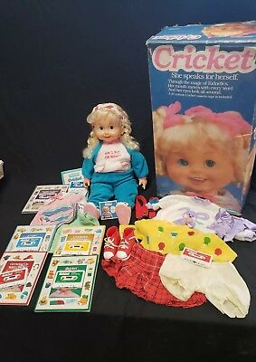 "1986 Playmates 25"" Talking Cricket Doll w/ Box, Outfits, Books, Cassette Tapes"