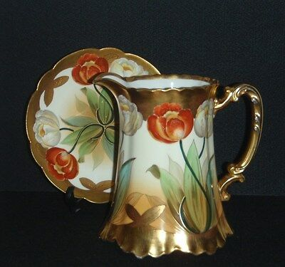 Antique Pickard China Pitcher And Plate Set Haviland, France