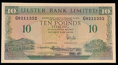 1990 RARE Uncirculated Ulster Bank Belfast Ireland 10 Pound Note. ITEM Y14