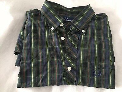 Men's FRED PERRY Shirt Long Sleeved Casual Size  Medium Checked RETRO Tartan