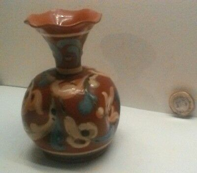 SMALL VASE WITH SCROLL DESIGN shape 1033 ON RED-BROWN
