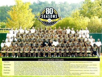 2012 Pittsburgh Steelers 8X10 Team Photo Nfl Football Picture