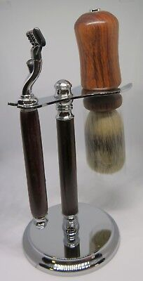 gb - Keen Handmade East Indian Rosewood Deluxe Chrome Brush & Safety Razor Set