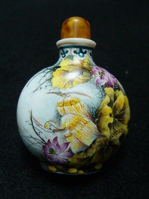 Exquisite Chinese enamel glass Snuff bottle- See Video
