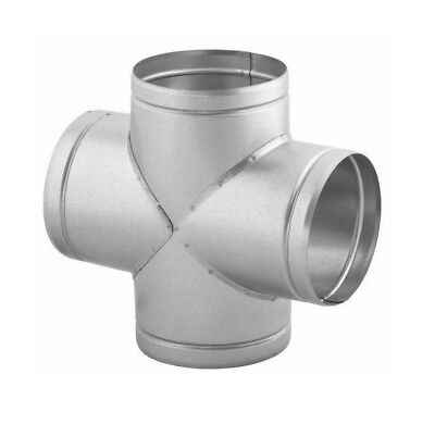 4 Way Ducting Pipe / Hose Connector Galvanised Steel T Piece Cross Duct Coupling