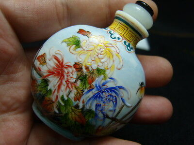 Exquisite Chinese enamel glass Snuff bottle- See Video             7