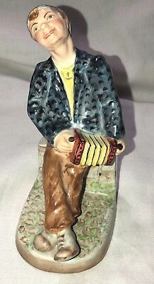 "Antique Wedgwood England 6"" Accordion Boy Porcelain Figurine"