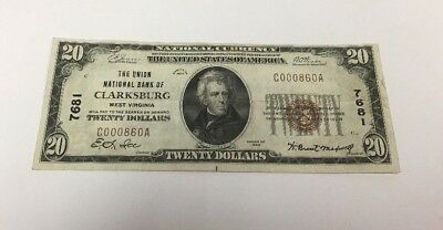 1929 $20 National Currency Banknote Clarksburg West Virginia # 7681