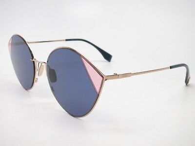 ceac9a1e590 New Authentic Fendi FF 0341 S LKSKU Gold and Blue with Blue lenses  Sunglasses