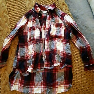 girls river island red checked shirt age 6