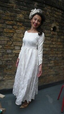 Original 1940s Damask Ivory  wedding Dress 8/10/12