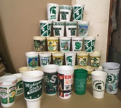 Vintage Michigan State University Spartans Plastic Cup Lot Of 34 Football