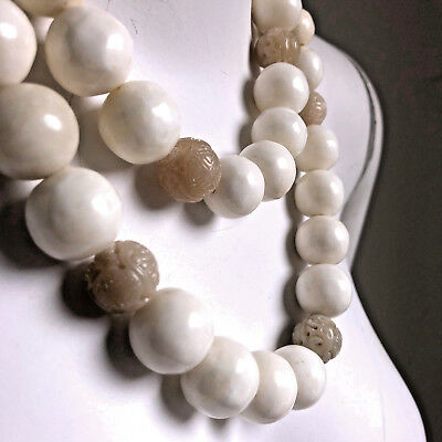 Vintage Alice Kuo Oversized Carved Beads Necklace Deco Style Titanic Long Strand