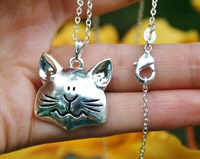 Cat Face Necklace Pendant Kitty Lover Chunky Quirky Gift Sterling Silver Chain