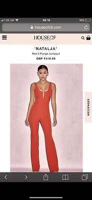 73b5c90eb5 HOUSE OF CB  Natalja  Red V Plunge Jumpsuit S 8   10 MA 148 - £70.00 ...