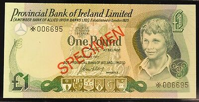 1977 RARE Uncirculated Provincial Bank of Ireland 1 Pound Note. ITEM Y20